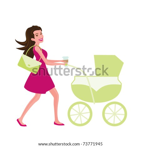 Cool Mom Pushing a Carriage