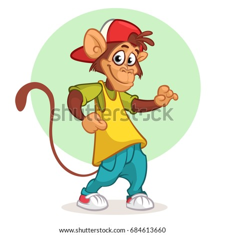 Cool monkey dancing in modern clothes. Vector flat cartoon illustration. Chimpanzee mascot