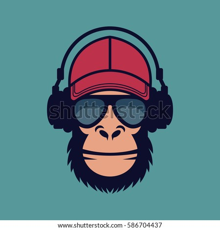 cool monkey with glasses and