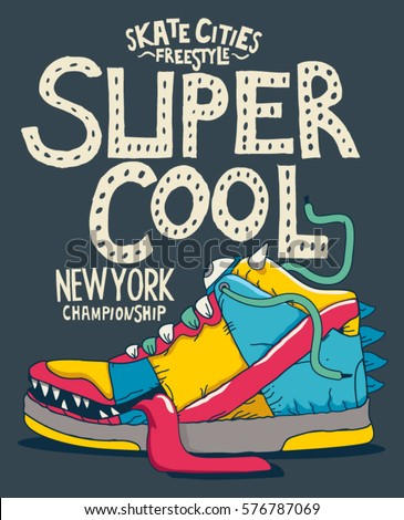 cool monster sneaker vector