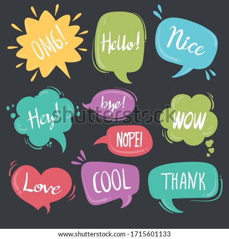 Cool OK Yes thank you, Speech bubbles with dialog words Vector bubbles speech illustration pink Thinking and speaking clouds