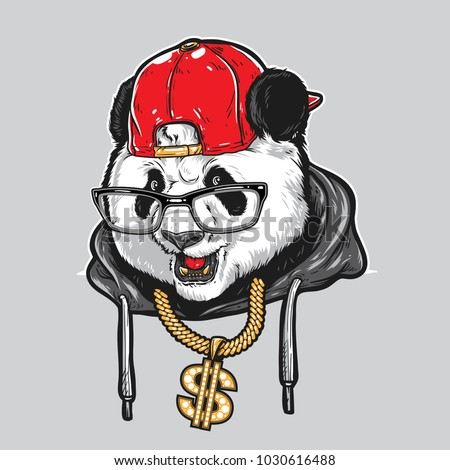 Cool Panda wearing glasses, hat, and gold necklace.