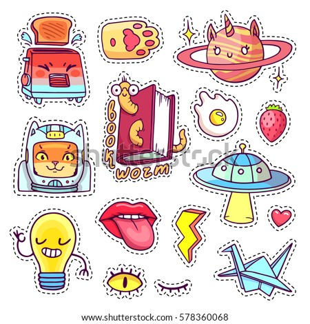 Cool patch badges and pins in 80s 90s pop art style with cartoon animals, characters and food. Vector set of different hand drawn stickers with book worm, cat astronaut, angry toaster, etc. Part 14
