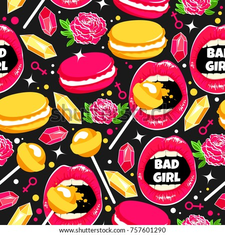 cool pattern with sweet lips
