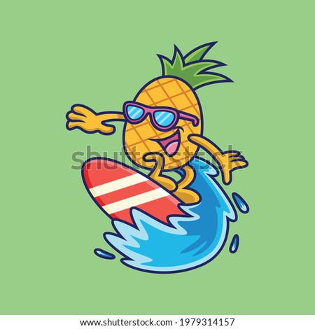 cool pineapple playing surfing