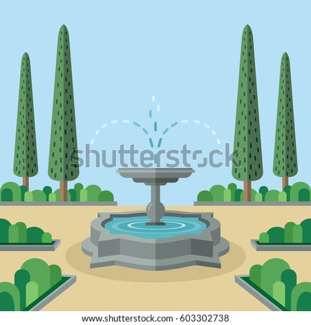 Cool place in park. Abstract idyllic landscape with streaming fountain and arranged trees. Summer day in city garden Versailles style. Flat design vector illustration.