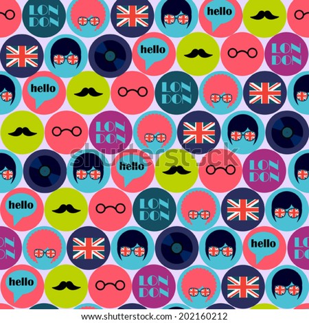 cool pop art english pattern