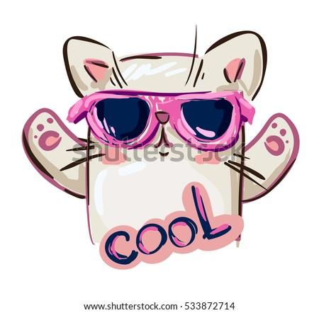 15466e4835 Fashion eyewear for summer season. Stylish · cool print children s T-shirt  with cat