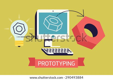 Cool prototyping process in industry, development and engineering vector flat concept design. Creative process from idea to sample prototype product