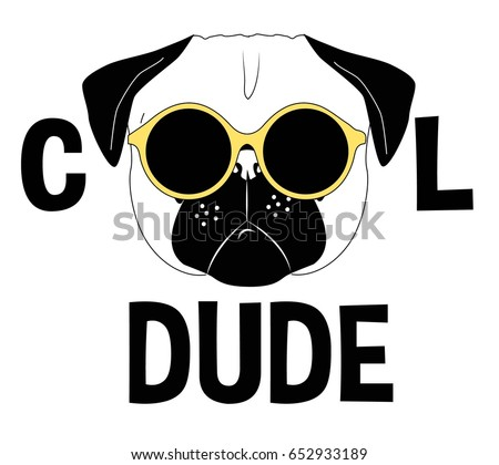 cool pug dog, illustration vector for print design.