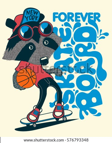 cool  raccoon skater vector