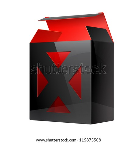 Cool Realistic Black Package Cardboard Box red inside. With a transparent plastic window. Vector illustration