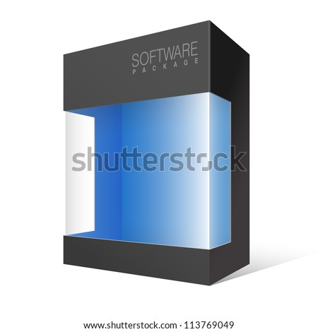 Cool Realistic Black Package Cardboard Box with a transparent plastic window. Vector illustration - stock vector