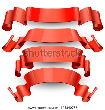 Cool Realistic Red Glossy vector ribbons on a transparent background for your design projec