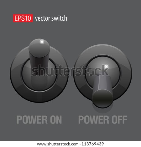 Cool Realistic Toggle Switch black color. Vector illustration.