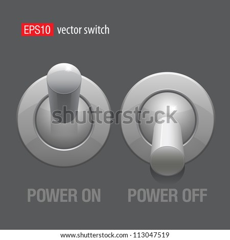 Cool Realistic Toggle Switch grey color. Vector illustration.