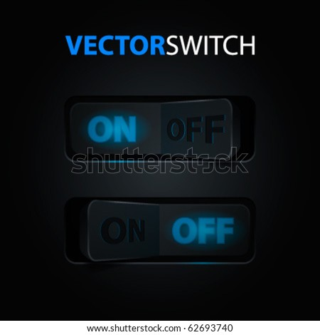 Cool Realistic Toggle Switch (ON/OFF). Vector illustration.