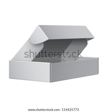 Cool Realistic White Package Cardboard Box Opened. For Software, electronic device and other products. Vector illustration