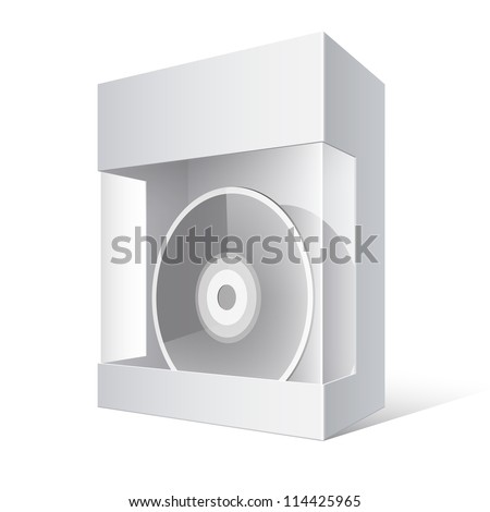 Cool Realistic White Package Cardboard Box with a transparent plastic window. DVD Or CD Disk inside. Vector illustration