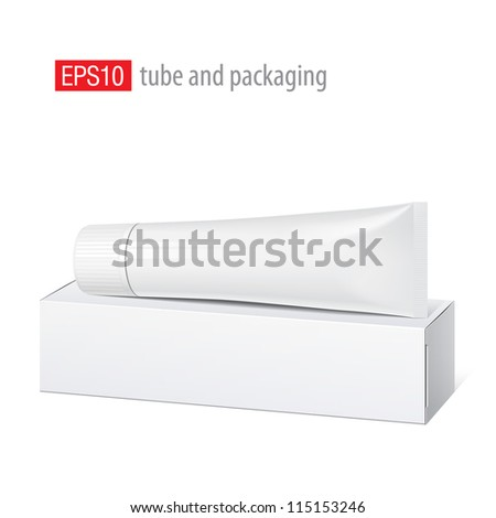 Cool Realistic white tube and packaging with wide cap. For cosmetics, ointments, cream, tooth paste, glue Vector. Separate elements