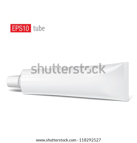 Cool Realistic white tube. For cosmetics, ointments, cream, tooth paste, glue Vector.elements