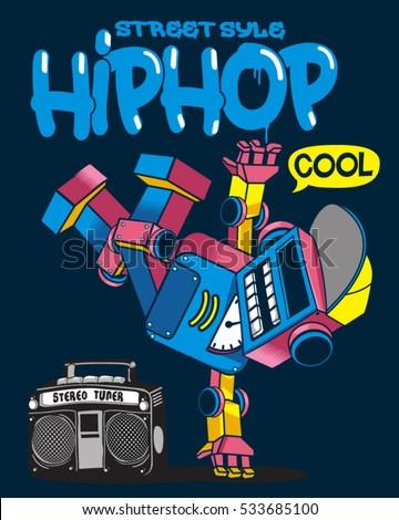 cool retro robot doing hip hop dance