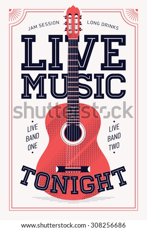 Cool Retro Styled 'Live Music Tonight' Vector Poster ...