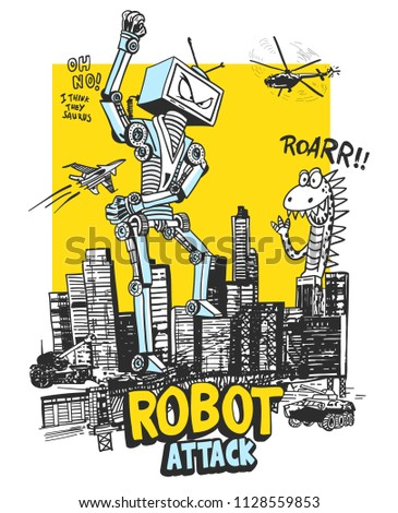 Cool robot vector design for t shirt printing