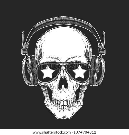 cool rock star skull wearing