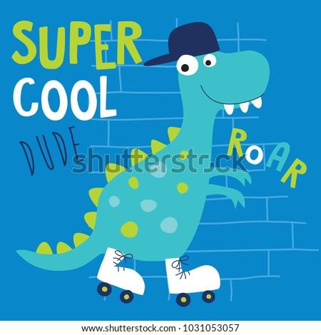 cool roller skater dinosaur