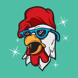 Cool rooster head with blue sunglasses. Isolated vector animal character