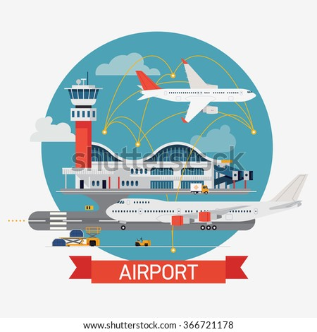 Cool round circle design element on airport terminal with control tower and planes. Airways transport and travel flat design vector illustration