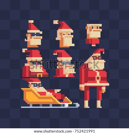 Cool santa icons set. Pixel art character. Sticker design. Isolated vector illustration