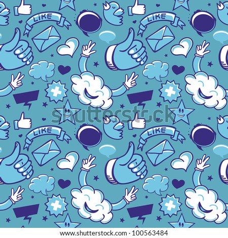 cool seamless pattern with social media icons - vector
