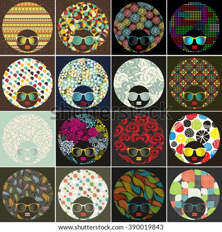 cool set of abstract faces of