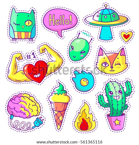 Cool set of stickers in 80s-90s pop art style. Neon trendy patch badges and pins with cartoon animals, food and things. Vector doodles/ with muscular heart, strange cactus, alien etc. Part 11. #561365116