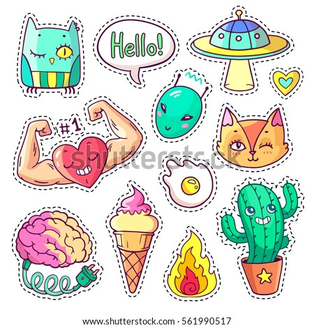 Cool set of stickers in 80s-90s pop art style. Trendy patch badges and pins with cartoon animals, characters, food and things. Vector doodles with muscular heart, strange cactus, alien etc. Part 11
