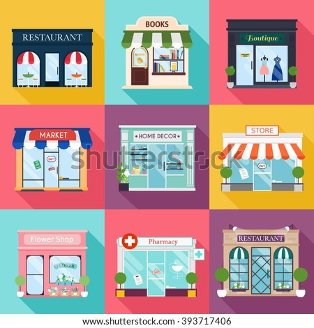 Cool set of vector detailed flat design restaurants and shops facade icons. Ideal for business web publications and graphic.