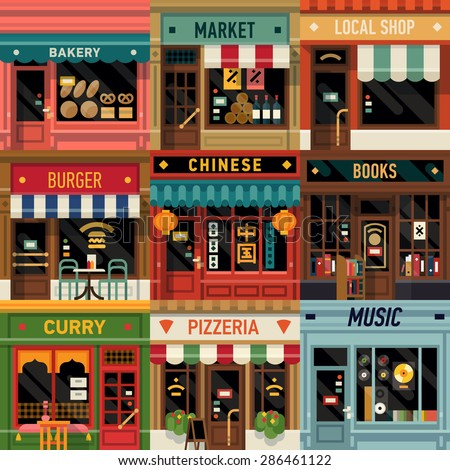 Cool set of vector detailed flat design restaurants and shops facade icons. Ideal for restaurant business web publications and graphic design