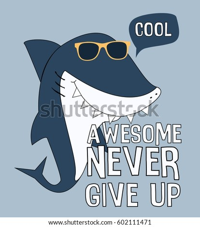 cool shark illustration vector