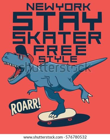 cool skater dinosaur