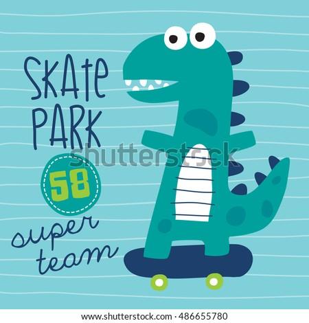 cool skater dinosaur character