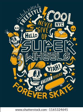Cool skater skeleton vector with bones, skateboard and typography for t shirt