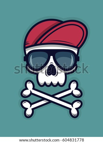 cool skull in sunglasses and a