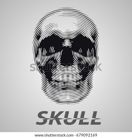 cool skull with glitch effect