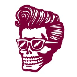 Cool skull zombie head with rockabilly pomp hairstyle and sunglasses tattoo, t-shirt or sticker design rock'n'roll vector illustration