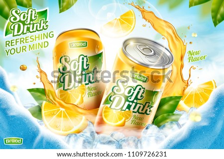 Cool soft drink ad with ice cubes and splashing juice in 3d illustration, green leaves and ice cave background