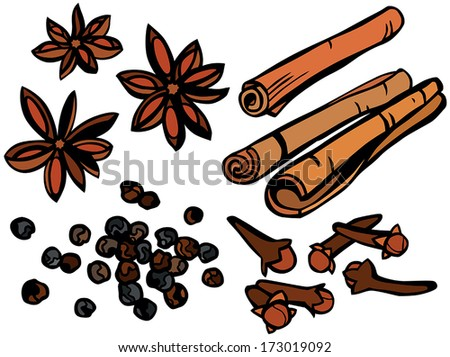 Clove Drawing Cloves And Cinnamon Sticks