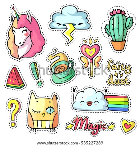 Cool stickers set in pop art comic style for girls. 90s patch badges and pins with cartoon animals, food, things and phrases. Vector chic doodle set with cute unicorn, magic wand, cactus etc. Part 6