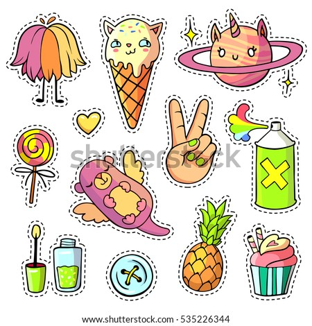 Cool stickers set in pop art comic style. 90s patch badges and pins with cartoon animals, food and things. Vector chic doodle set with cat shaped ice cream, flying otter, unicorn planet etc. Part 5